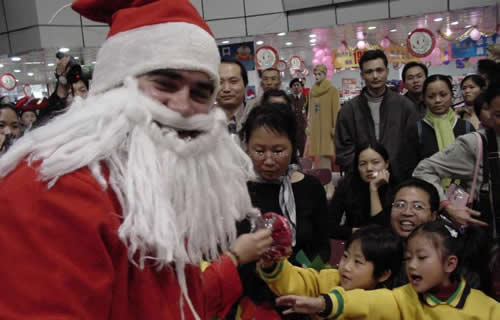 Photo by John Wotherspoon - Me as Santa, Zhaoqing 2002