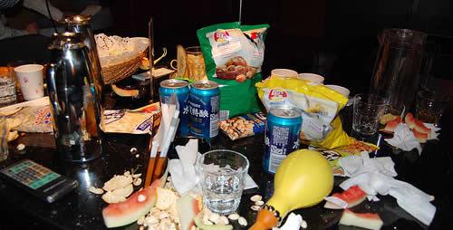 Mess after karaoke