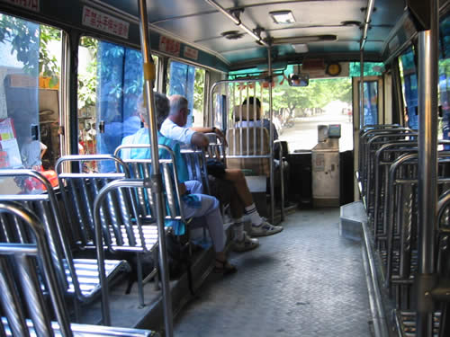 buses in China with metal seats