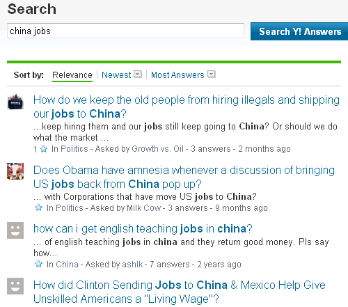 Yahoo Answers show people concerned about jobs being lost to China