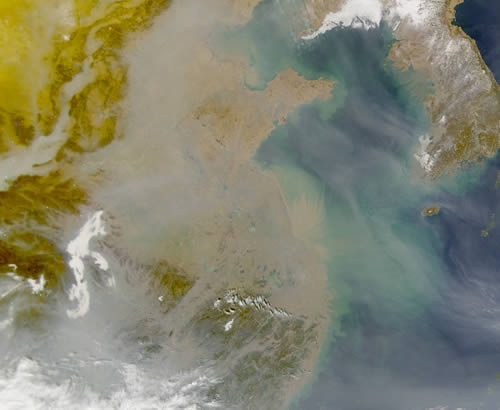 satellite image show pollution over China